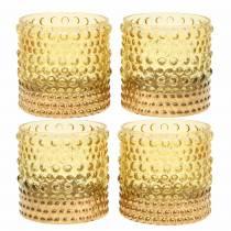 Lantaarn gemaakt van glas geel, goud Ø8.5cm H8cm 4st