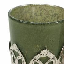 Lantaarn glas metaal decor groen lila Ø5.5cm H5.5cm 4st