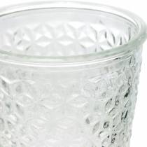 Lantaarn glas met voet helder Ø10cm H18.5cm tafeldecoratie