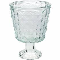 Lantaarn glas met voet helder Ø13,5cm H18cm tafeldecoratie buiten