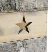 Theelicht berkenhout met handvat 14.5cm x 14.5cm H20cm