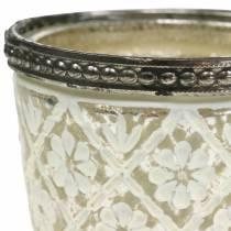 Lantaarn boer zilveren bloemen Ø7.5cm H7.5cm 2st