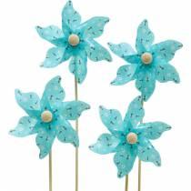 Windmolen pinwheel bijen turkoois Ø8,5cm zomerdecoratie tuin 12st