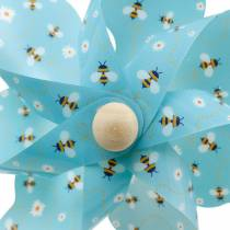 Pinwheel bijen turkoois Ø16 zomerdecoratie windgong molen 4st
