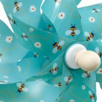 Pinwheel bijen turkoois Ø31cm windgong windmolen tuindecoratie