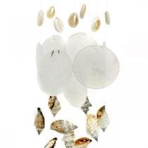 Windgong met capiz schelpen, maritieme decoratie, decoratie hanger slakkenschalen L35 Ø8cm