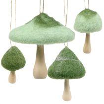 Deco hanger paddestoel hout / vilt groen Ø5cm-Ø10cm H9cm 8st