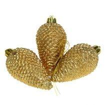 Kegels kunststof licht goud 8cm 6st. om op te hangen