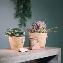 Zinkpot met jute plantenbak Ø13cm H12cm