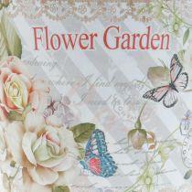 Zomerdecoratie bloempot metalen rozen plantenbak Ø11.5cm H10.5cm