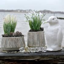 Plantenbak naturel gestreept zwaar Ø14cm 2 stuks