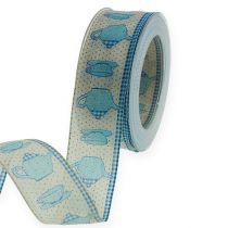 Decoratief lint met draad blauw 40 mm 20 m