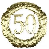 Verjaardag nummer 50 in goud Ø40cm
