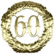 Verjaardag nummer 60 in goud Ø40cm