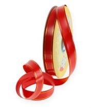 Geschenklint 2 gouden strips op rood 19mm 100m