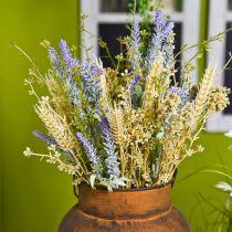 Kunst lavendelbos, zijden bloemen, veldboeket van lavendel met korenaren en moerasspirea