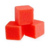 Nat schuim mini-kubus rood 300st