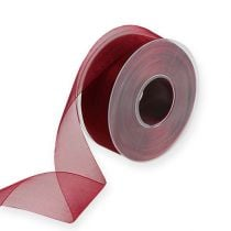 Organza lint in Bordeaux 40mm 50m