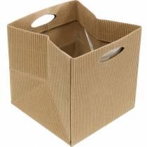 Papieren zak 12cm bruin, crème, beige geschenkverpakking 12st