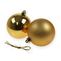 Kerstballen plastic goud 8cm 6st