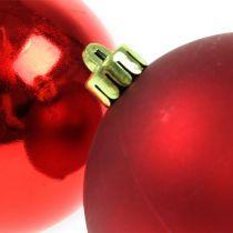 Kerstballen kunststof rood 8cm 6st