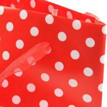 Geschenktas rood, wit 31cm 5st