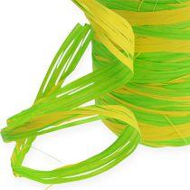 Raffia lint bicolor groen-geel 200m