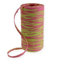 Raffia lint tweekleurig appelgroen-roze 200m