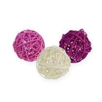 Rotan bal lila, paars, gebleekt Ø4.5cm 30p