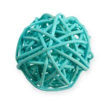 Rotan bal blauw, turkoois, gebleekt 30st