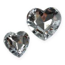 Scatter decoratie acryl harten zilver 2cm - 3cm 120st