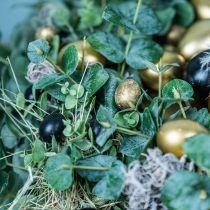 Kwarteleitjes decoratie zwart leeg 3cm lentedecoratie naturel decoratie 50st