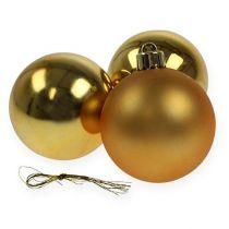 Kerstbal plastic goud 6cm 12st