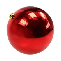 Kerstbal medium kunststof rood 20cm