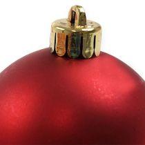 Kerstbal kunststof rood Ø6cm 12st