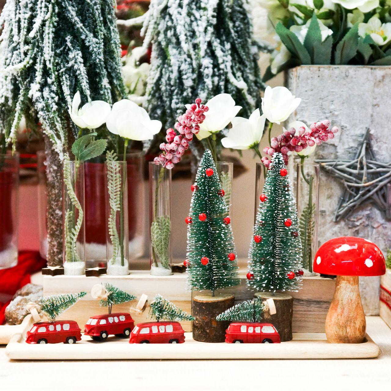 Kerstboomversiering auto met spar rood / groen 2st