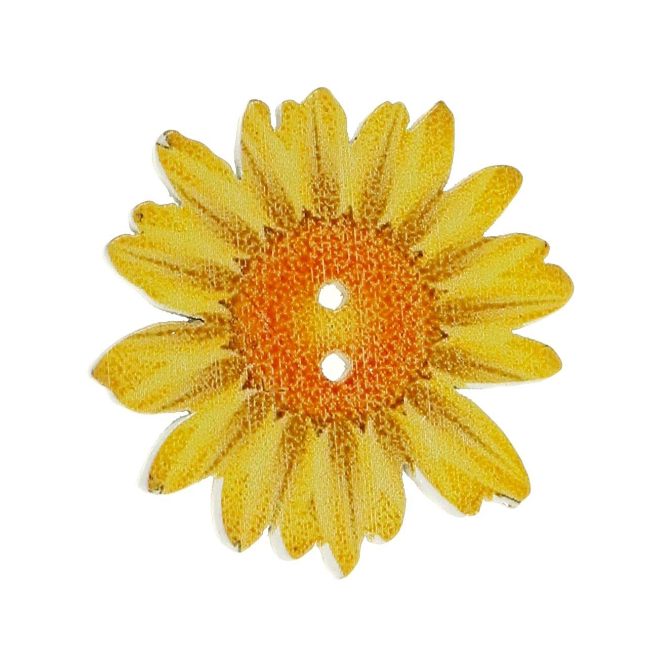 Bloemen als knoppen gemaakt van hout Ø3,5cm gesorteerd 90p