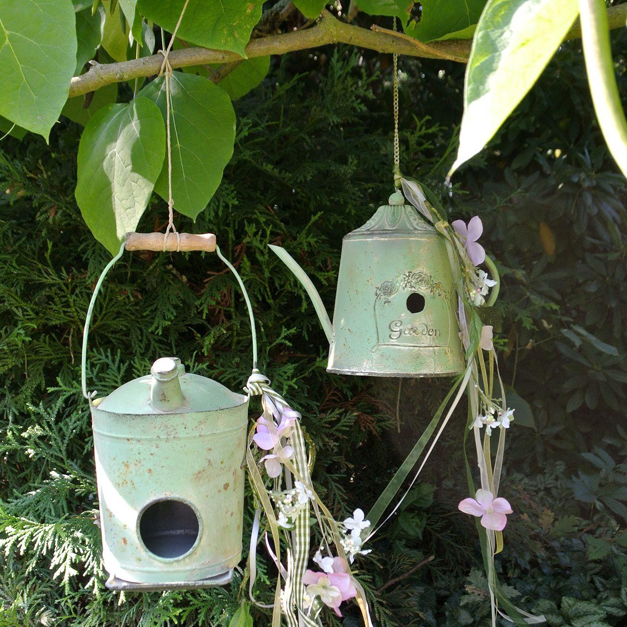 Birdhouse oliekan antiek groen Ø16cm H20cm