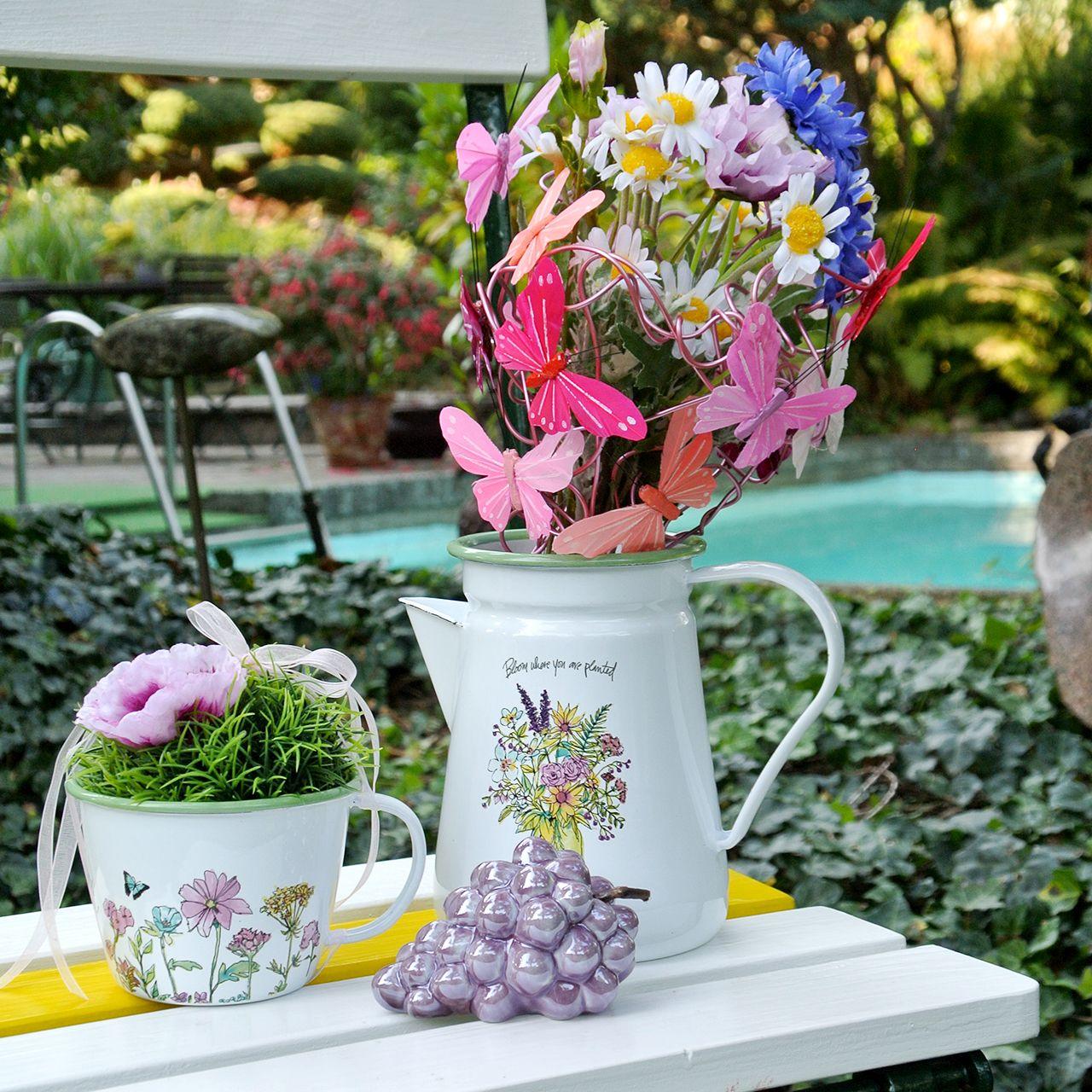 Decoratieve kan plantenpot geëmailleerd Ø12cm H16cm