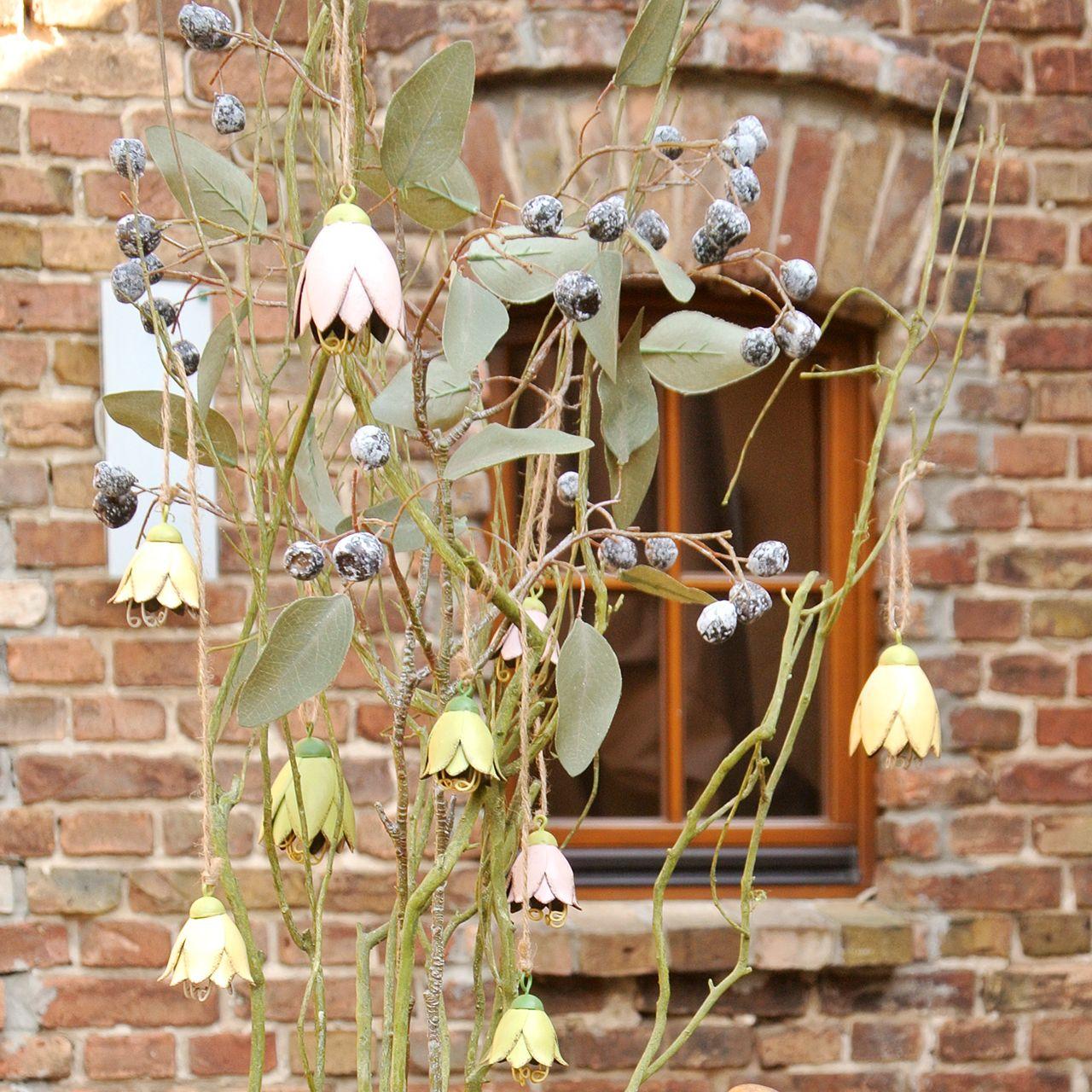 Decoratieve hanger metalen bloemen tulp 6cm 3st