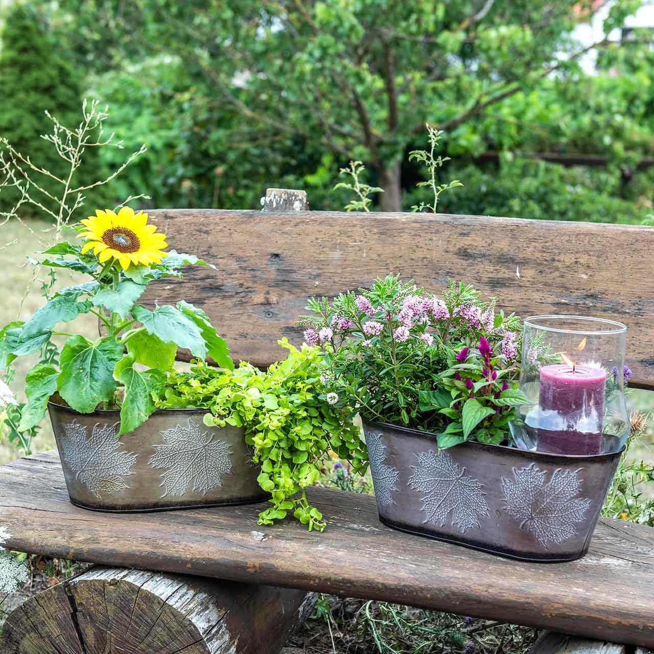 Decoratieve plantenpot met bladeren ovaal zink metallic grijs, oranje, bruin 38 × 20cm H15cm 3st
