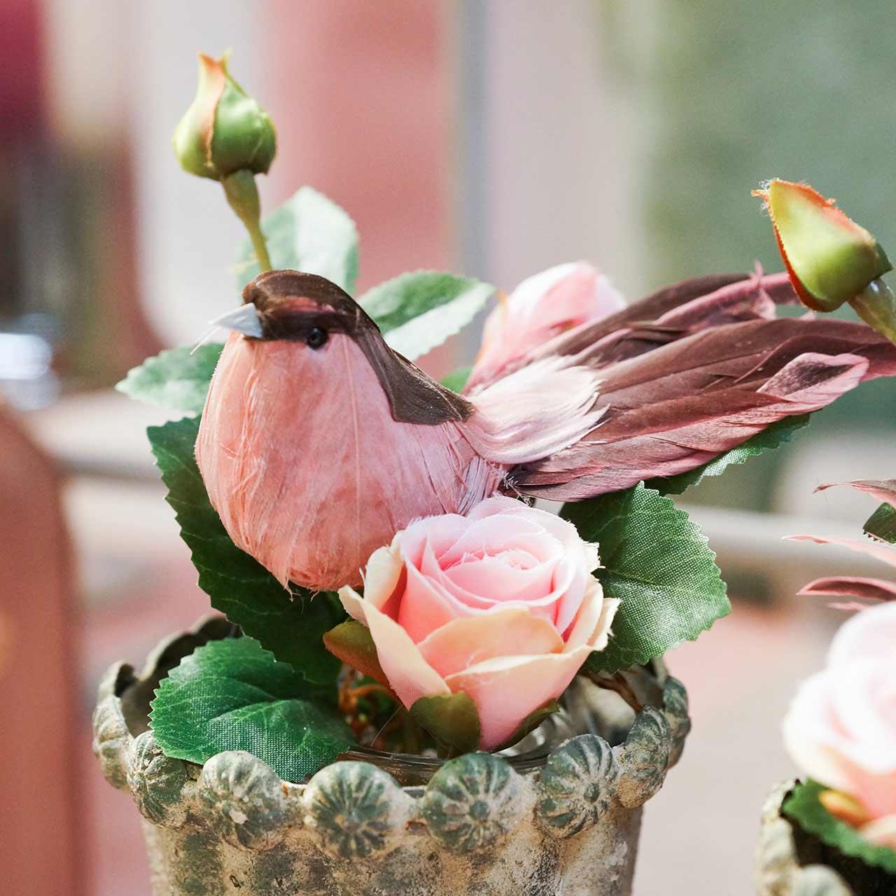 Veer vogel op draad roze 12cm 4st