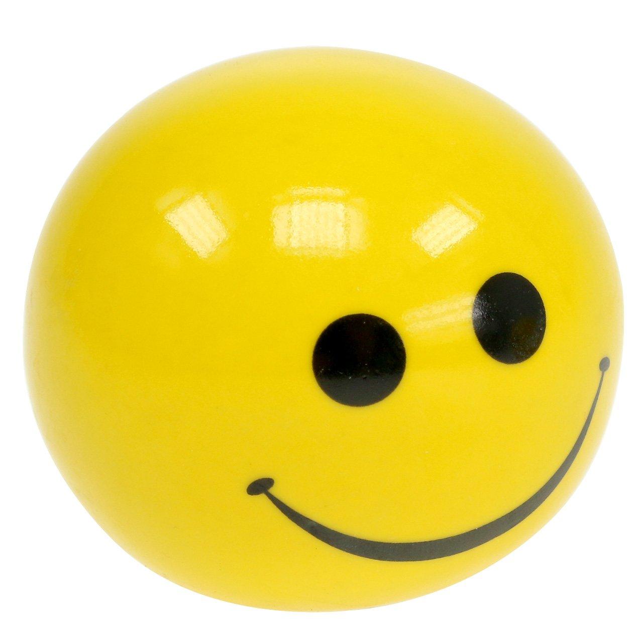 Keramische bal met Smeili geel Ø5cm H4.5cm 6st