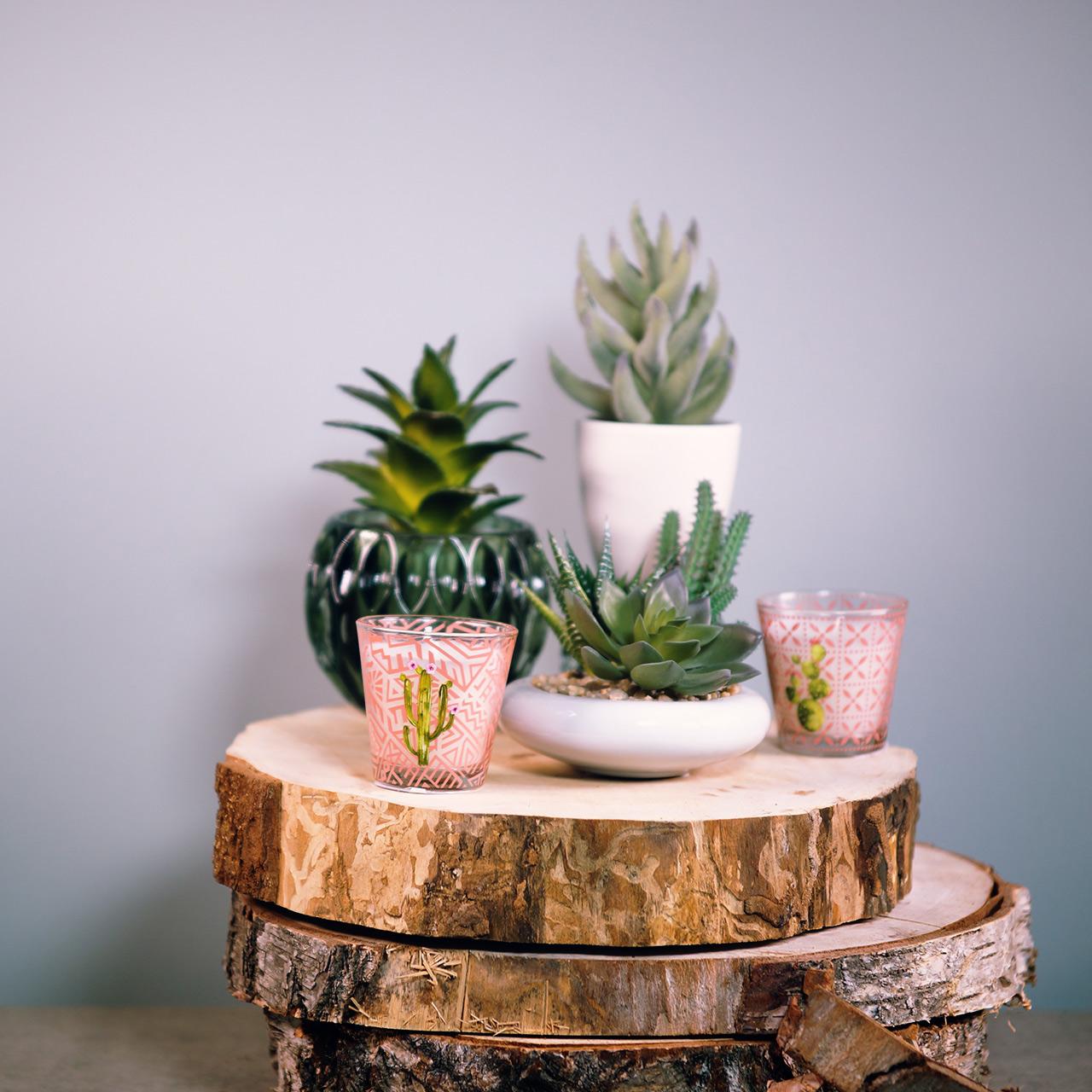 Wax kaars in glazen cactus Ø6.5cm 2st