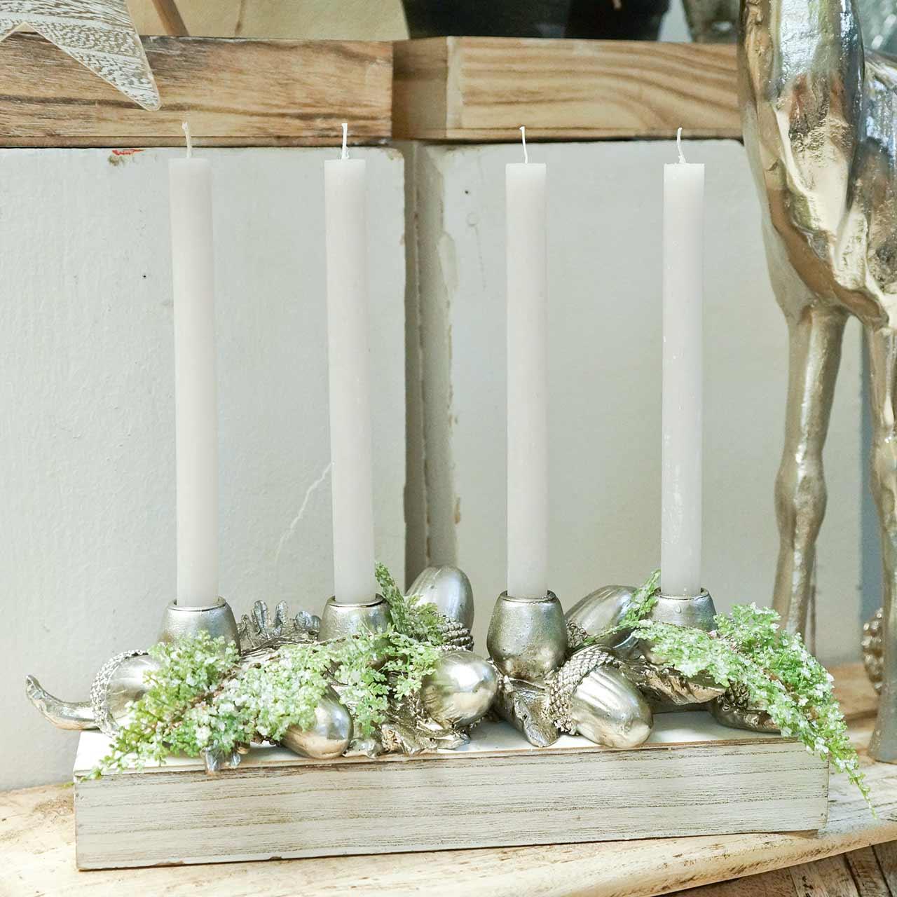 Kerstdecoratie kandelaar voor 4 kaarsen eikels 44cm