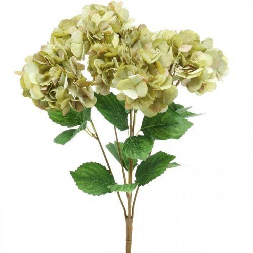 Hortensia boeket kunstgroen, bruin 5 bloemen 48cm