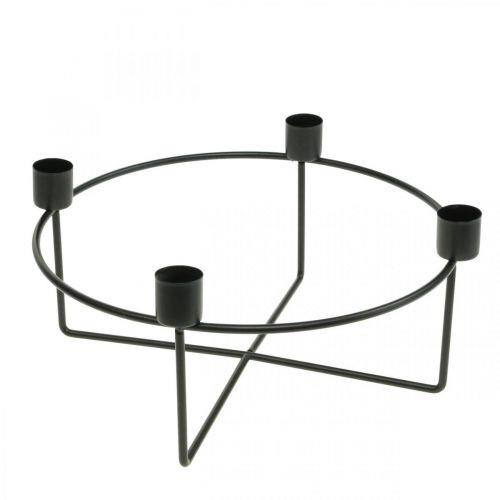 Kandelaar voor 4 kaarskaarsen zwart metaal H11cm Ø24,5cm