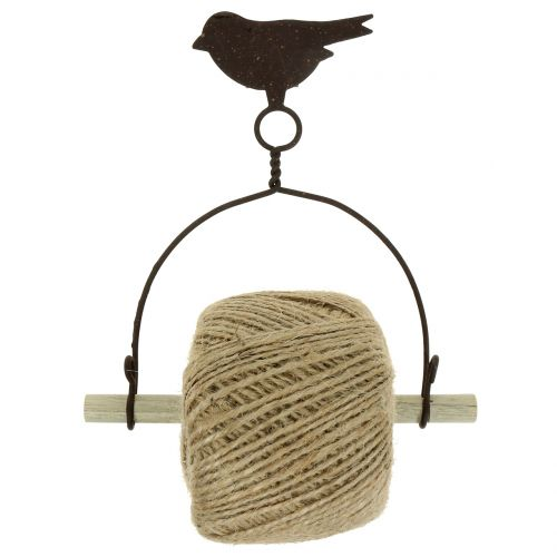 Bandhouder vogel om op te hangen met jute H19cm