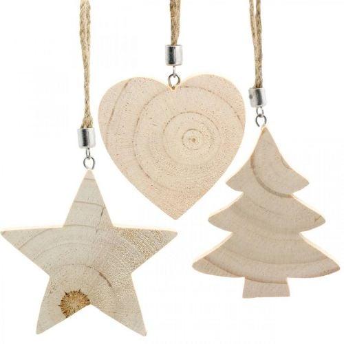 Decoratieve hanger ster / hart / kerstboom, houten decoratie, Advent H9.5 / 8 / 10cm 6st