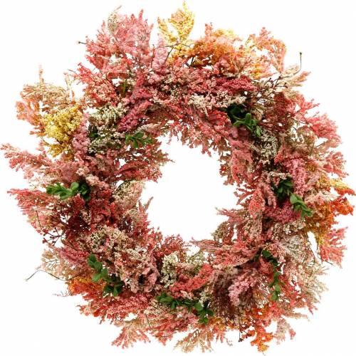 Kunstbloemen krans heidekrans roze zijden bloemen